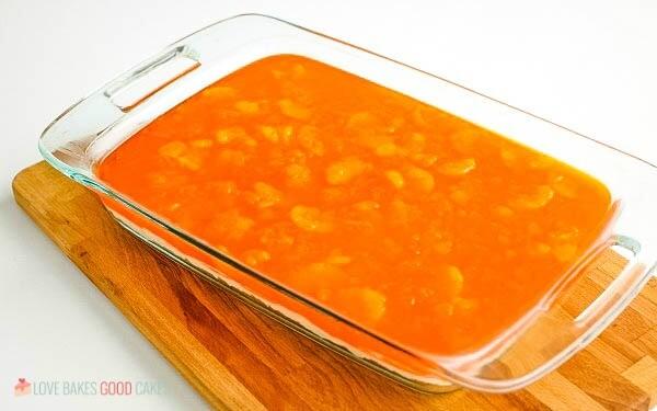orange gelatin layer in pan