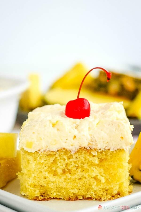 Slice of Pineapple Sunshine Cake on plate