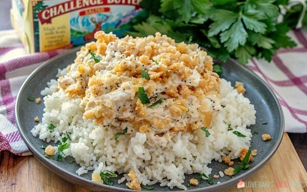 Poppy Seed Chicken Casserole over Rice.