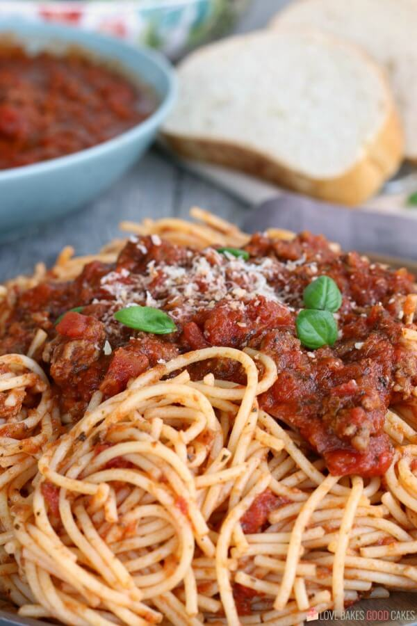 Homemade spaghetti sauce is great for busy weeknights and easier in the slow cooker.