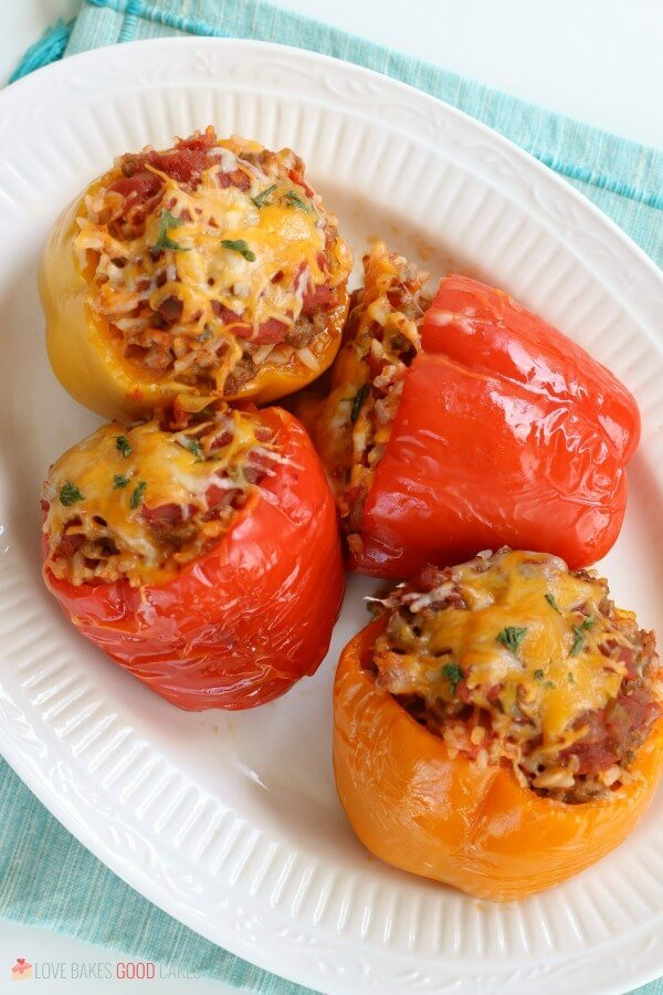 Slow Cooker Stuffed Peppers on a white plate.