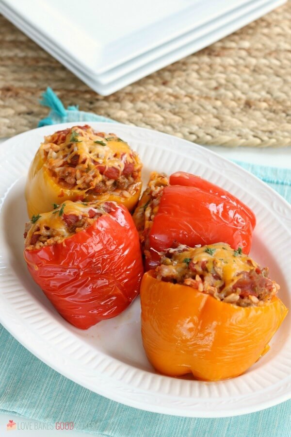 Slow Cooker Stuffed Peppers on a plate.