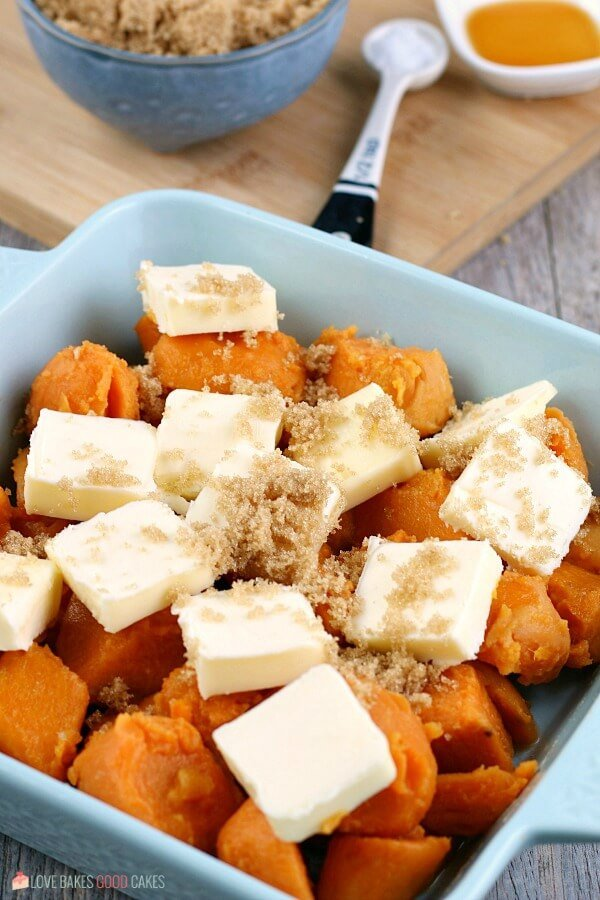 Adding brown sugar to the yams recipe is the most tasty part of the whole process!