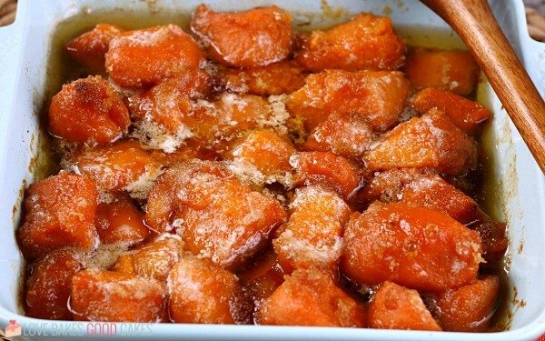 A horizontal view of the finished how to make candied yams tutorial.