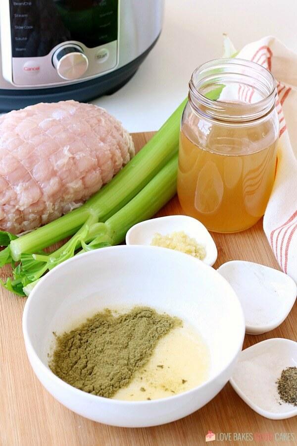 Ingredients needed to make my pressure cooker turkey breast recipe.