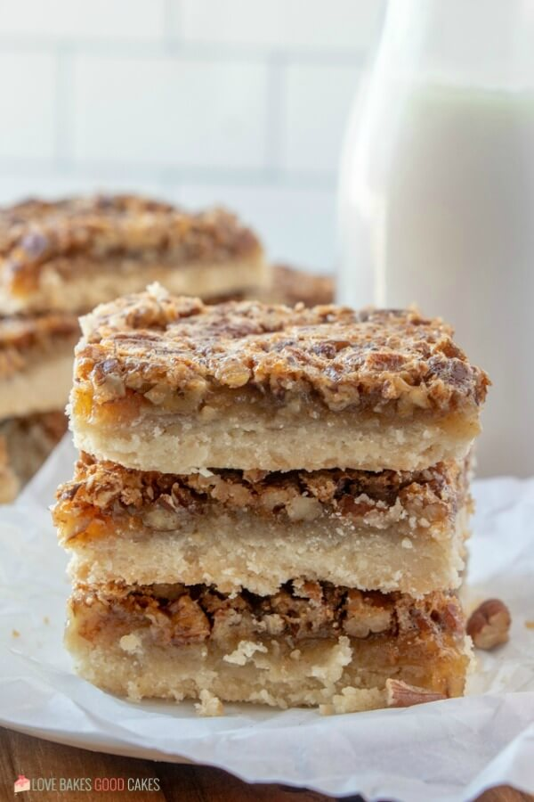 Pecan Pie Bars made with a shortbread crust