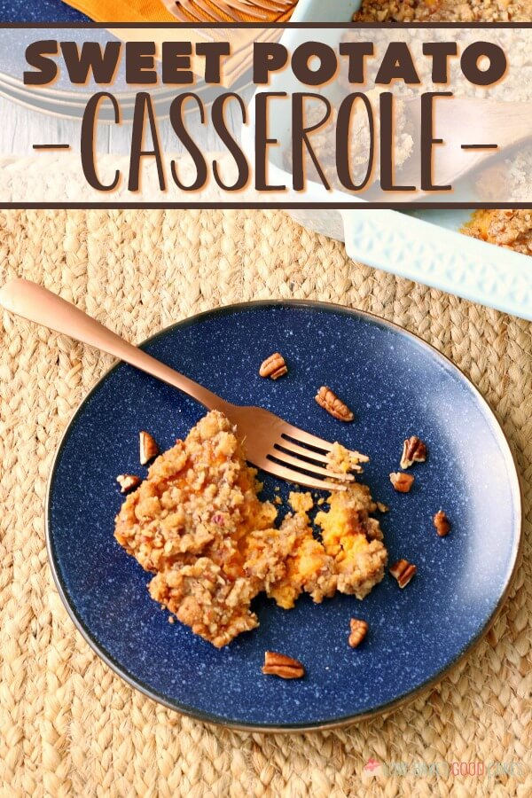 A top down view of the finished easy sweet potato casserole recipe.