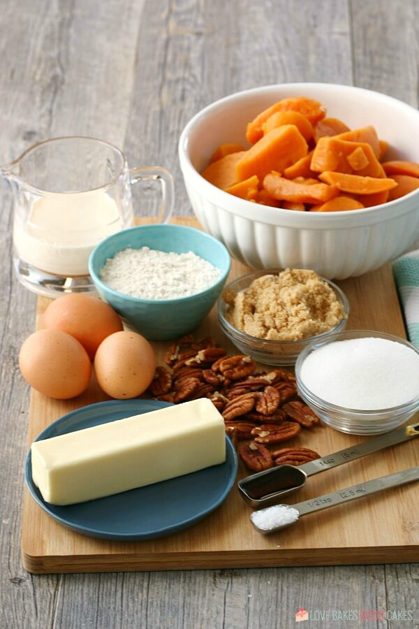 Ingredients for the sweet potato casserole with pecans all laid out before we begin baking.