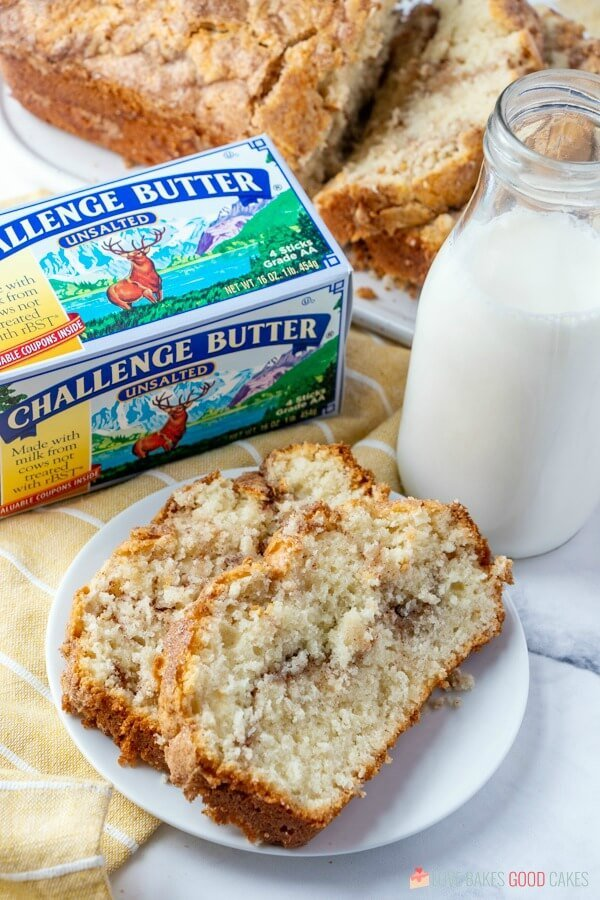 Amish Cinnamon Bread Easy Recipe on plate with butter
