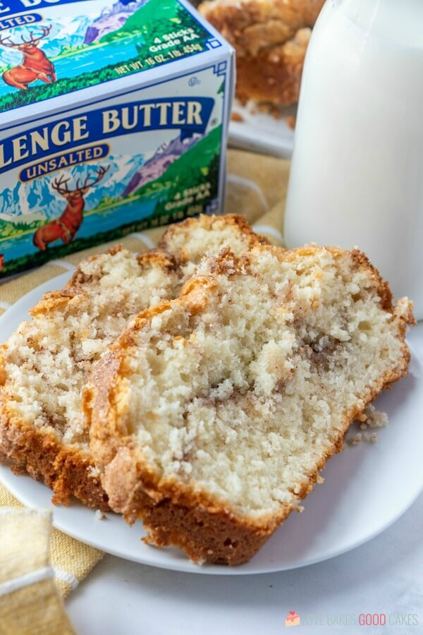 Amish Cinnamon Bread without Starter on white plate