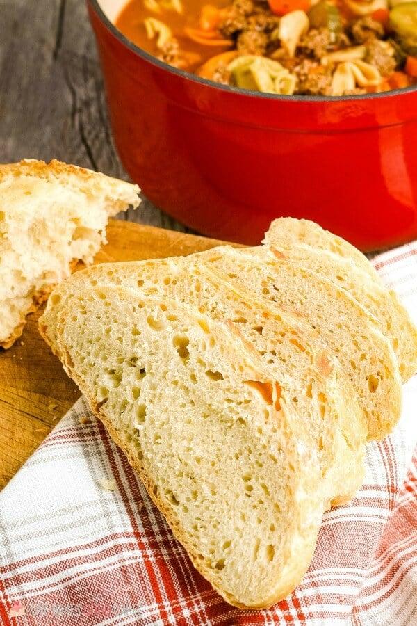 close-up No-Knead Bread slice