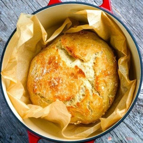 baked bread in pan