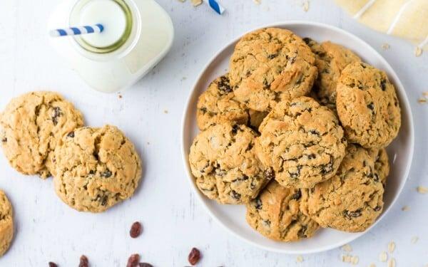 Oatmeal Raisin Cookies on plate with milk