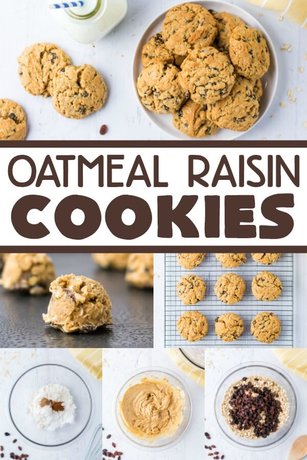 collage with steps to make oatmeal raisin cookies recipe