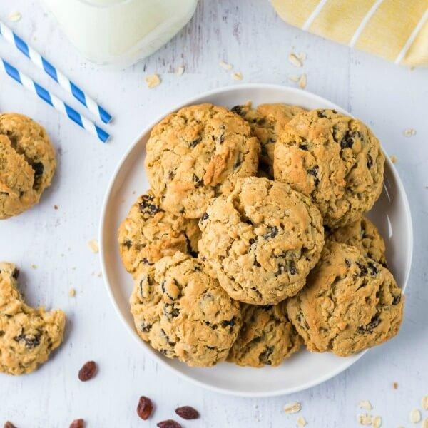 oatmeal raisin cookies on plate