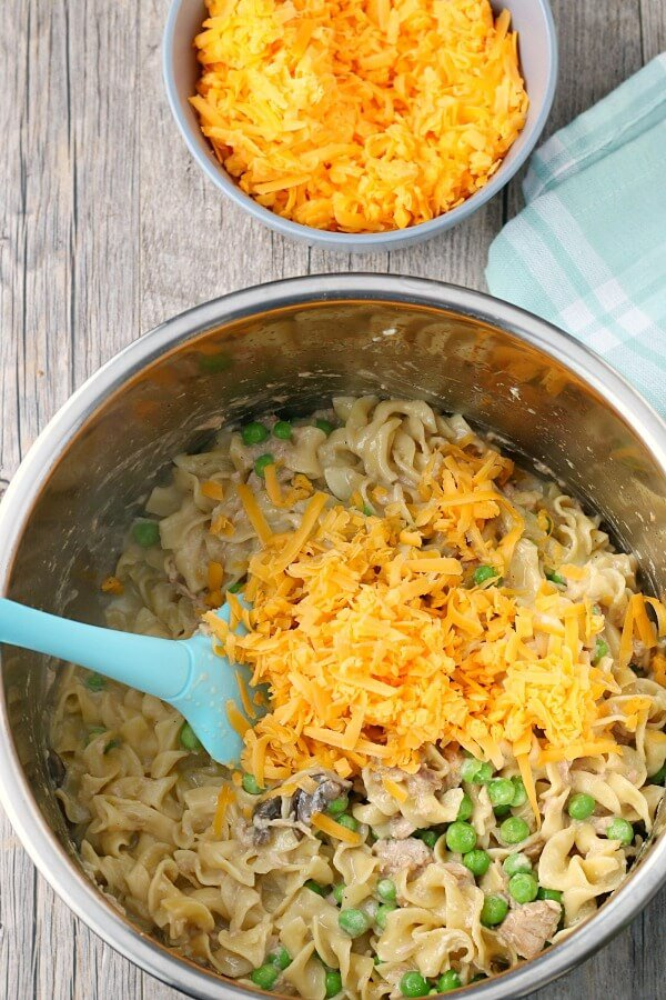 A top down view of our Instant Pot tuna noodle casserole recipe.