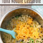 adding cheese to the finished Instant Pot tuna casserole