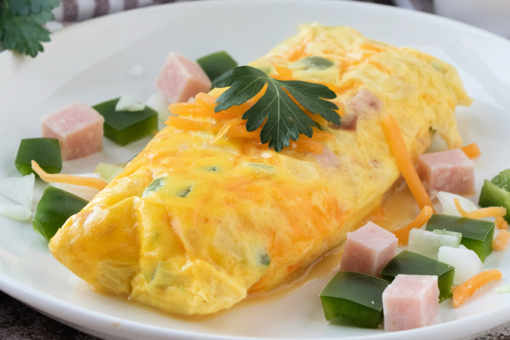 omelet in a bag on a white plate