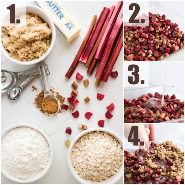 step by step how to make Rhubarb Crisp