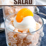 finished orange fluff salad in small glass bowl