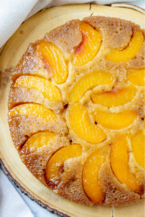 looking down onto finished peach upside down cake