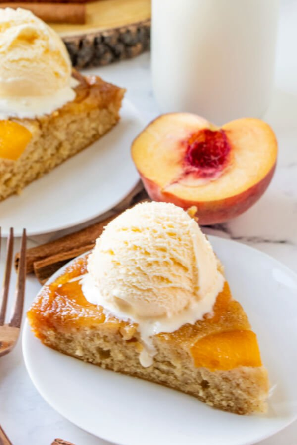 peach cake slice on plate