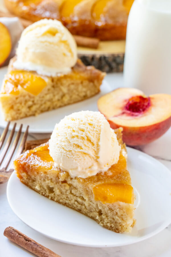 peach upside down cake on plate