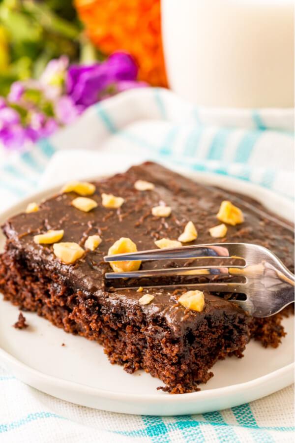fork cutting chocolate cake