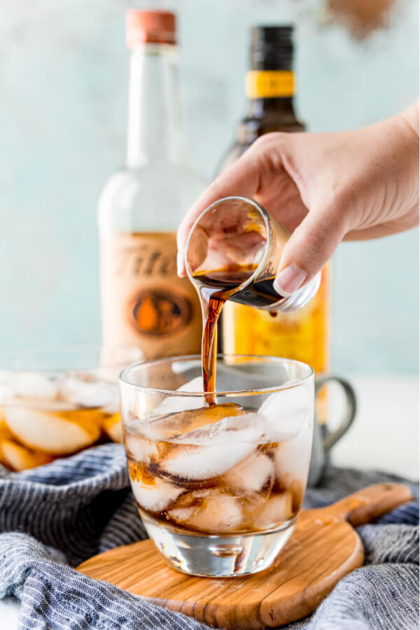 coffee-flavored liquer being poured into glass