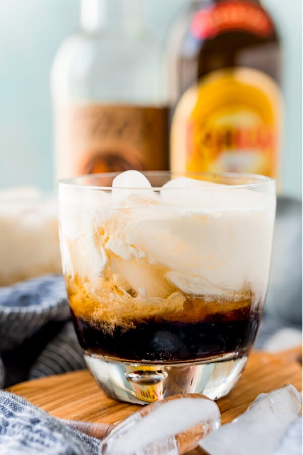 finished White Russian Cocktail in glass with ice