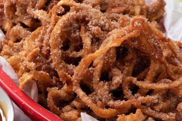 closeup of apple cinnamon curly fries