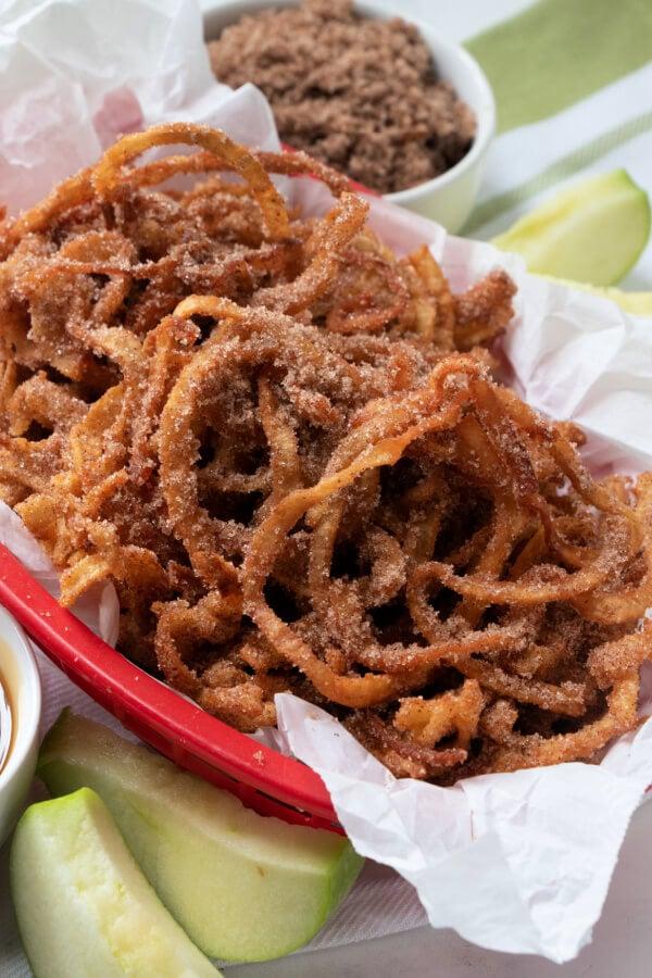 basket of apple cinnamon curly fries