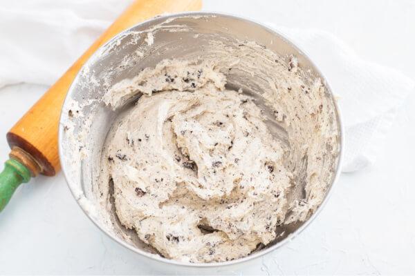 mixed dough in bowl