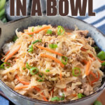 egg roll in a bowl pin image with words