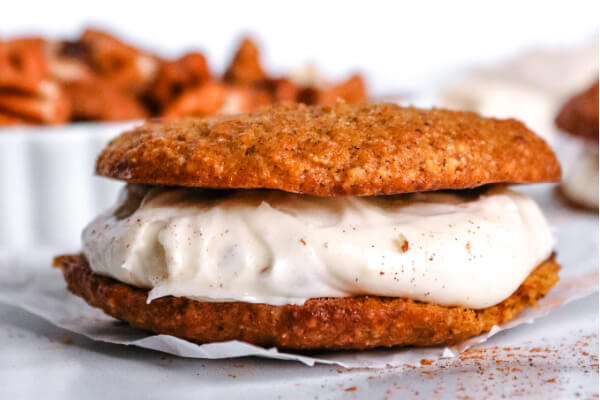 Keto Pumpkin Whoopie Pies filled with cream cheese and pecans