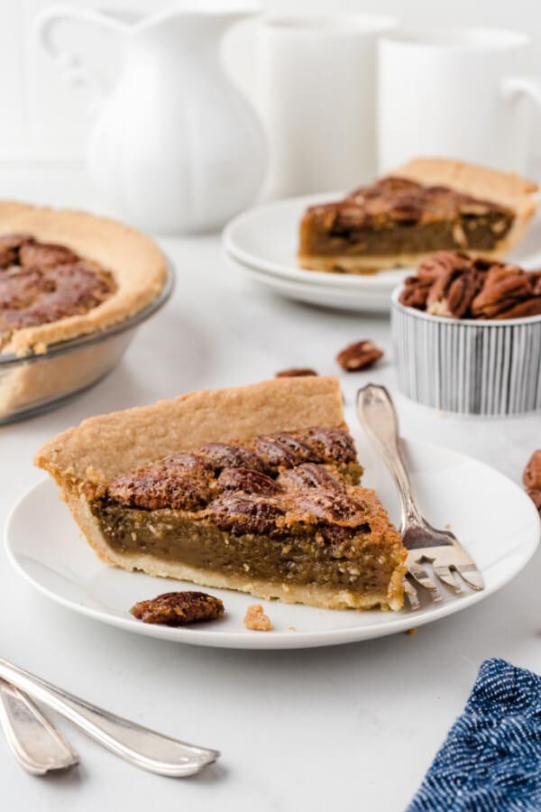maple pecan pie slice on plate