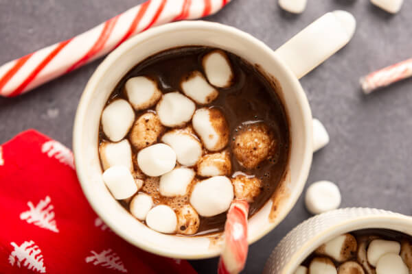 looking down into a mug of utella hot chooclate with marshmallows