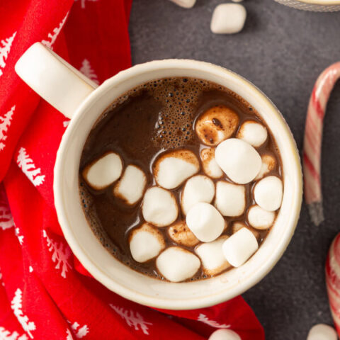 closeup of nutella hot chocolate with marshmallows