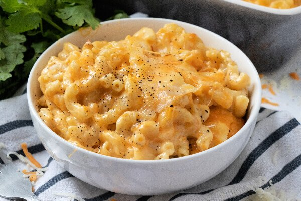 bowl of southern mac and cheese