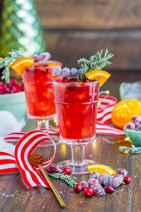 non alcoholic christmas drinks with winter background