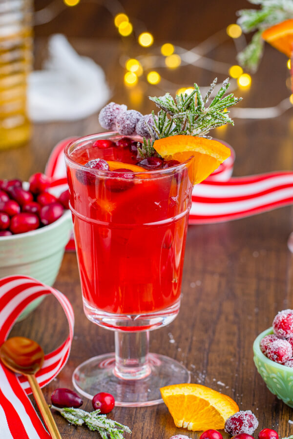 non-acholic christmas drink with festive background