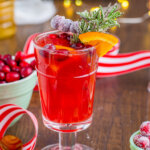 christmas mocktail in glass with festive background