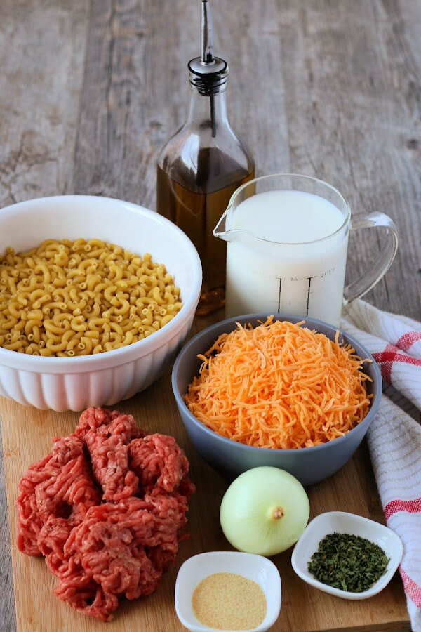ingredients to make hamburger helper