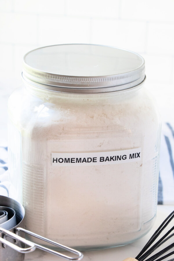homemade baking mix in a glass storage container