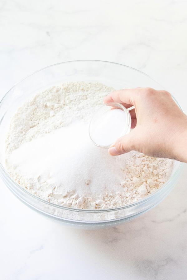adding salt to the flour mixture