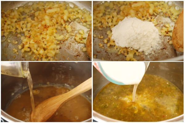 browning onions and adding flour, broth, and cream