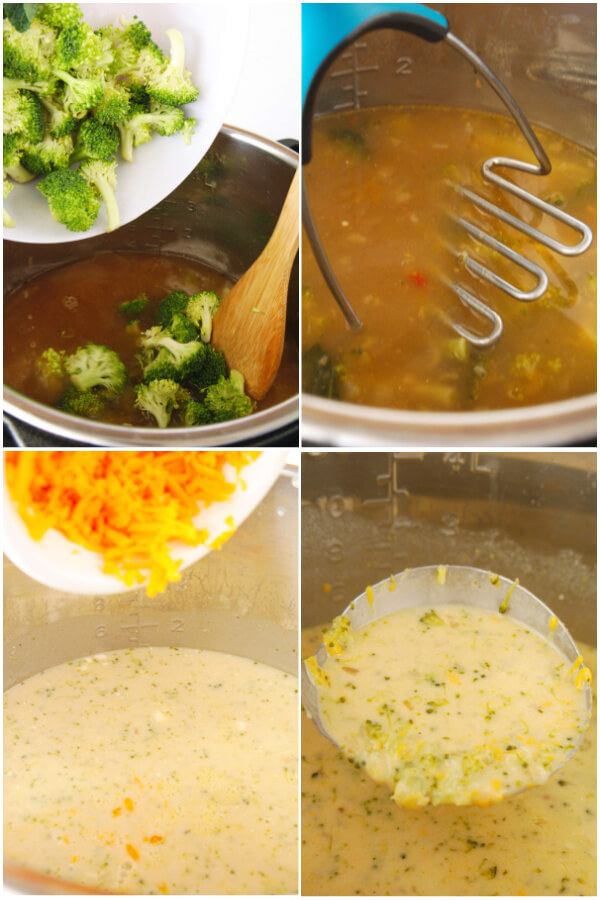 adding fresh broccoli, mashing it, adding cheese, and a ladle of soup