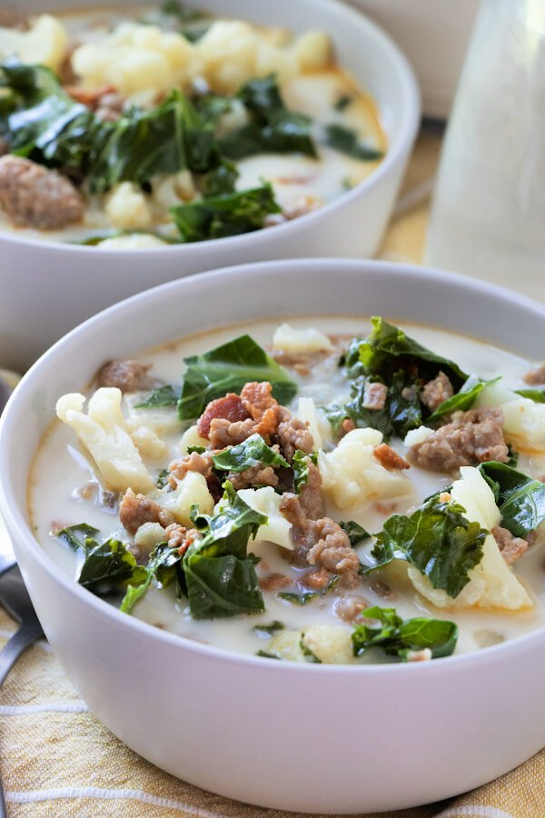 bowl of low carb zuppa toscana