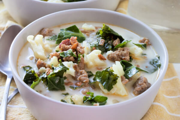 low carb zuppa toscana in bowl