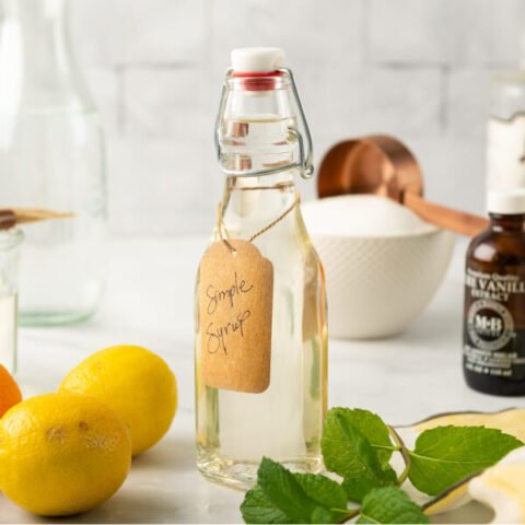 simple syrup in glass jar